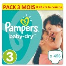 456 COUCHES PAMPERS TAILLE 3 BABY DRY  (114X4)