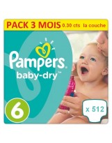 512 COUCHES TAILLE 6 PAMPERS BABY DRY