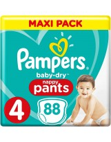 PAMPERS PANTS TAILLE 4 BABY DRY 88 COUCHES PANTS (2X44 COUCHES)
