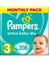 PAMPERS TAILLE 3 ACTIVE BABY DRY 208 COUCHES PACK 1 MOIS