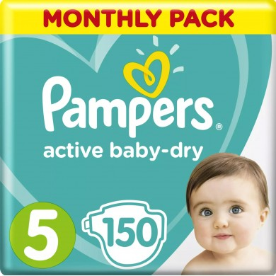 PAMPERS TAILLE 5 ACTIVE BABY DRY 150 COUCHES PACK 1 MOIS