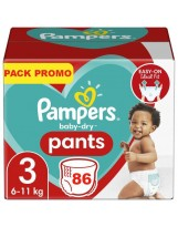PAMPERS PANTS TAILLE 3 86 COUCHES. 6 KG-11 KG