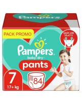 PAMPERS BABY DRY PANTS TAILLE 7 84 COUCHES (4X21). 17KG+