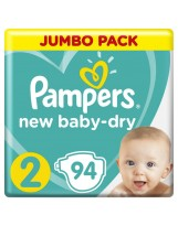 PAMPERS NEW BABY DRY TAILLE 2 94 COUCHES 4-8 KG