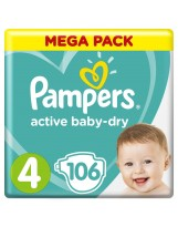 PAMPERS ACTIVE BABY DRY TAILLE 4 106 COUCHES