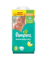 PAMPERS ACTIVE BABY DRY TAILLE 3 124 COUCHES