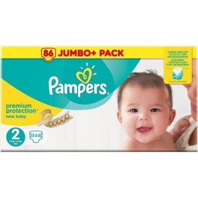 344 COUCHES PAMPERS TAILLE 2 NEW BABY