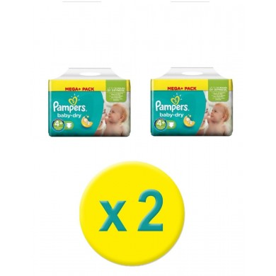 152 COUCHES TAILLE 4+ PAMPERS BABY DRY (76X2)
