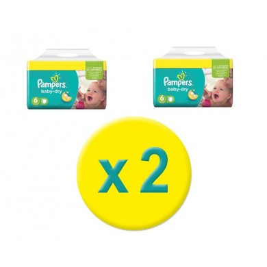 Pampers taille 6: 184 couches baby dry giga pack (2x92 couches)